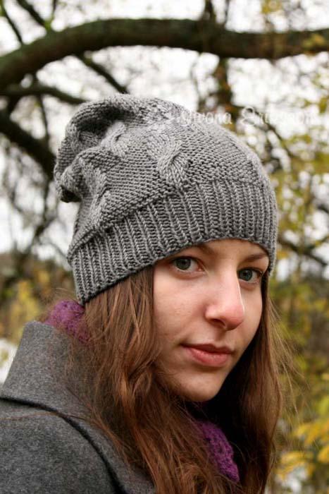 Czapka na drutach na zimę